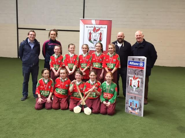 The Scoil an Athar Tadhg Carraig na bhFear team that came in third place in the County Section Rang 4 Indoor Hurling Tournament