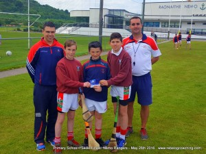 Felix Murphy, Sean O'Donoghue and Billy Connolly, winners of the Sciath na Scoil Hurling Skills competition for Carraig na bhFear