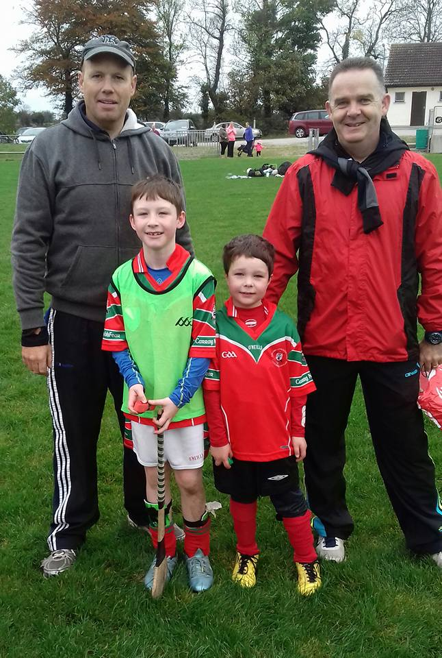 Cillian O' Keeffe and Ciaran Tattan with Denis Harte and Mike Flynn