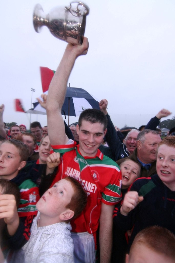 Timmy Geaney of Carraig na bhFear celebrating with supporters after Carraig na bhFear defeated Killeagh in the Junior A Hurling Championship East Cork Final between Killeagh and Carraig na bhFear played on Saturday Sept 14 in Ballinoe Pic Dan Geary