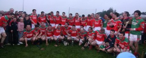 Members of the  jubilant Carraig na bhFear Junior A hurling team after the win against Killeagh in the Junior A Hurling Championship East Cork Final Pic Dan Geary